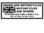 Honor Oak Motorcycles Forest Hill Dealer Decals Transfers DDQ10